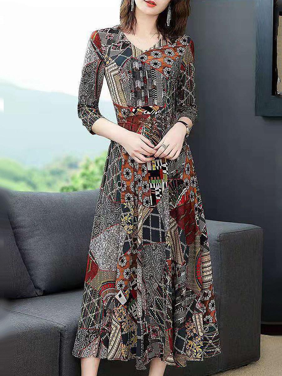 BerryLook V-Neck  Printed Maxi Dress