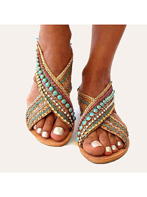 Bohemian Flat Peep Toe Date Travel Flat Sandals, 7257658, BERRYLOOK  - buy with discount