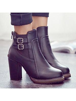 berrylook Plain High Heeled Round Toe Date Office High Heels Boots