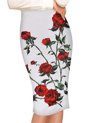 Floral Printed Slit Pencil Midi Skirt