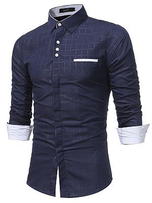 Contrast Button Plaid Men Shirts