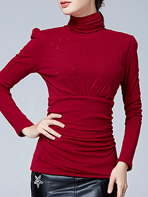 Heap Collar Patchwork Elegant Plain Long Sleeve T-Shirt, 9760518