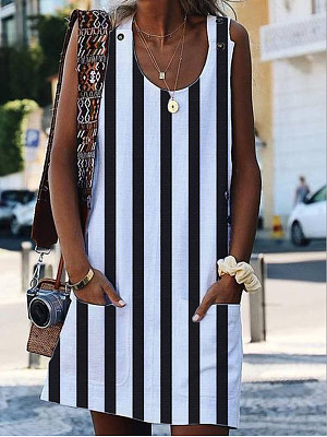 Round Neck Slit Pocket Striped Shift Dress, 6890526