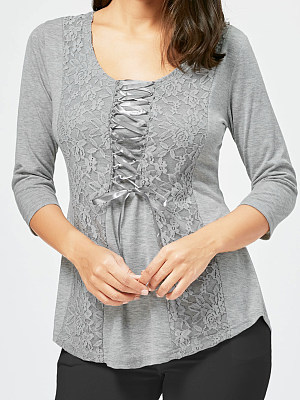 Round Neck Patchwork Elegant Lace Plain Three-Quarter Sleeve T-Shirt, 8316710
