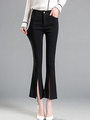 Plain Flared Slit Casual Pants, 3799501