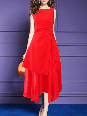 Round Neck Asymmetric Hem Plain Maxi Dress, 7020737