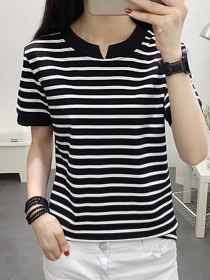 V Neck Stripes Short Sleeve T-Shirts