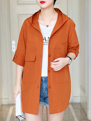Hooded Flap Pocket Plain Trench Coat фото