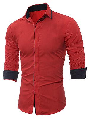 Contrast Trim Long Sleeve Men Shirts фото