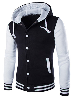 Men Hooded Color Block Single Breasted Pocket Coat