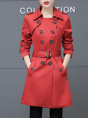 Lapel Double Breasted Flap Pocket Belt Plain Trench Coat