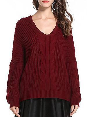 V Neck Patchwork Elegant Plain Long Sleeve Knit Pullover, 8463965