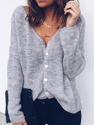 V-Neck Single Breasted Two Way Plain Long Sleeve Sweaters Pullover, 5549108