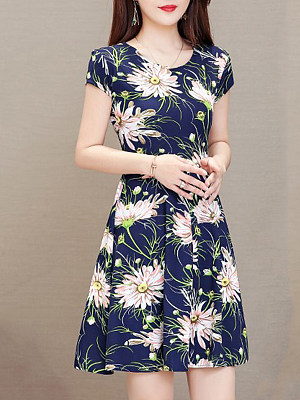 Round Neck  Floral Printed Skater Dress фото