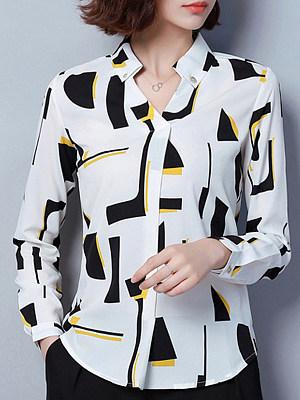 V Neck Patchwork Elegant Printed Long Sleeve Blouse, 9300572