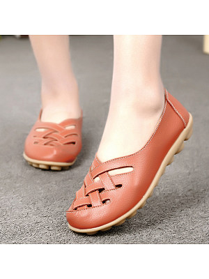 Hollow Out Plain Flat Round Toe Casual Date Comfort Flats
