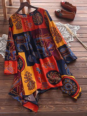 Round Neck Asymmetric Hem Print Shift Dress, 5315595
