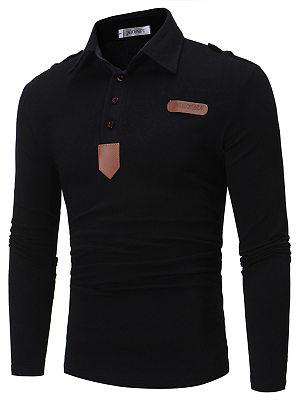 Polo Collar Decorative Patch Men T-Shirt