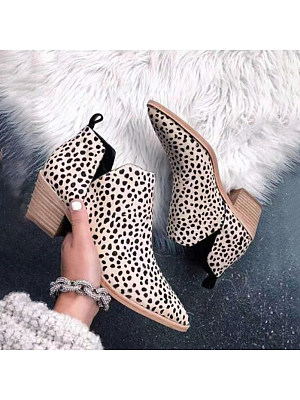 Animal Printed Chunky Point Toe Boots, 9694143