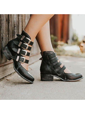 Plain  Chunky  Low Heeled  Round Toe  Casual Date  Ankle Flat Boots