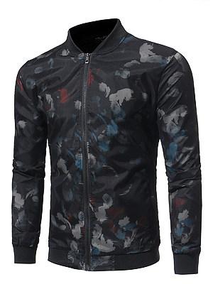 Band Collar Abstract Print Men Jacket