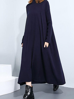 High Neck  Patch Pocket  Plaid Maxi Dress