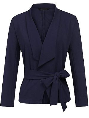 Shawl Collar Belt Plain Blazer, 5525080