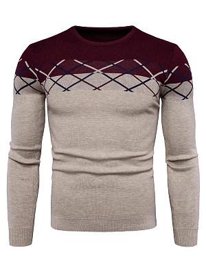 Color Block Round Neck Men'S Sweater фото