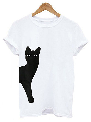 Round Neck Loose Fitting Animal Prints Short Sleeve T-Shirts, 6920088