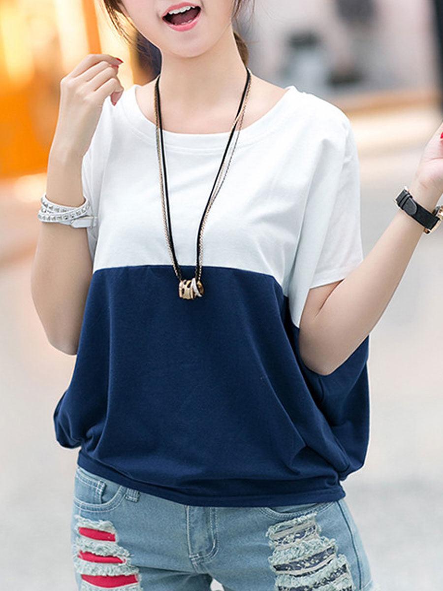 BerryLook Round Neck  Patchwork  Plain  Batwing Sleeve Short Sleeve T-Shirts