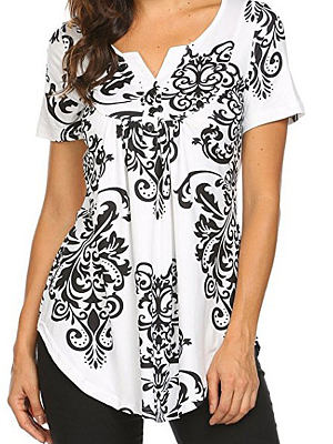 Summer Cotton Women V-Neck Asymmetric Hem Decorative Button Floral Printed Short Sleeve T-Shirts, 4682997