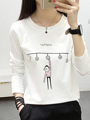 Round Neck  Print Long Sleeve T-Shirts