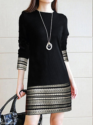 Round Neck Printed Daily Shift Dress фото