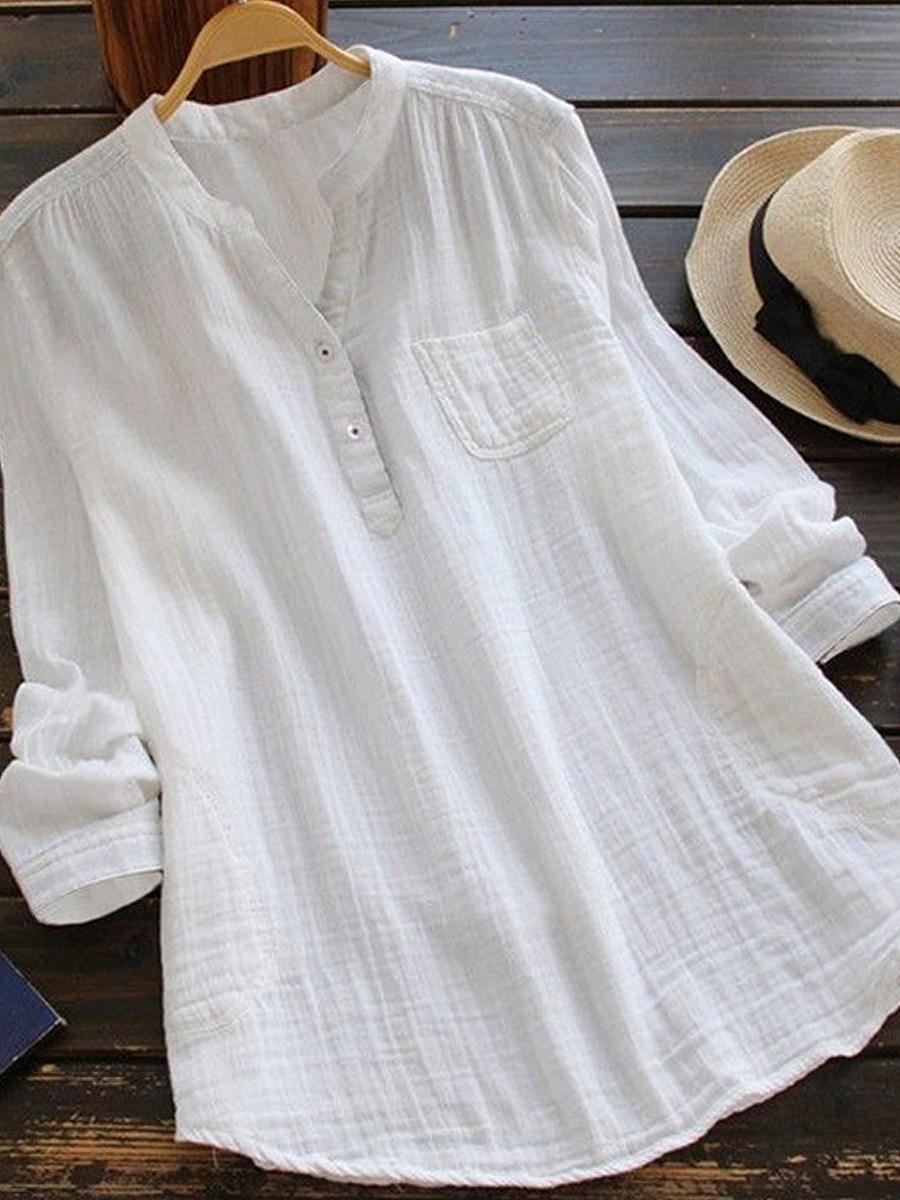 Autumn Spring Summer  Cotton/Linen  Women  Decorative Button  Plain  Long Sleeve Blouses