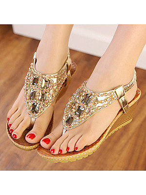 SOCOFY Plain  High Heeled  T Strap  Peep Toe  Date Outdoor Wedge Sandals