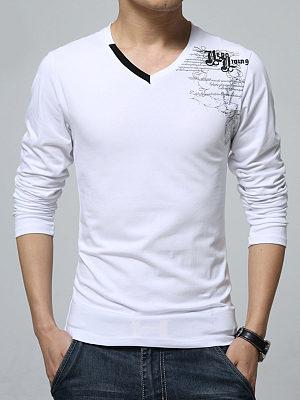 V-Neck  Letters Printed Men Long Sleeve T-Shirt