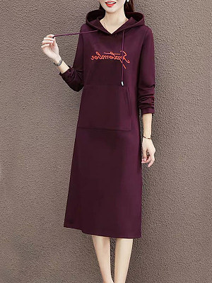Hooded Patch Pocket Letters Shift Dress, 9465798