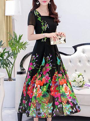 Boat Neck Floral Printed Maxi Dress фото