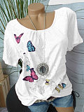 Image of Spring Summer Polyester Round Neck Printed Short Sleeve Blouse