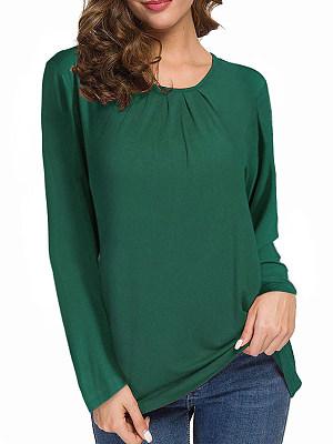 Round Neck Patchwork Brief Plain Long Sleeve T-Shirt, 8375240