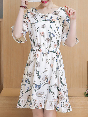 Round Neck Patchwork Floral Printed Bell Sleeve Skater Dress, 7011674