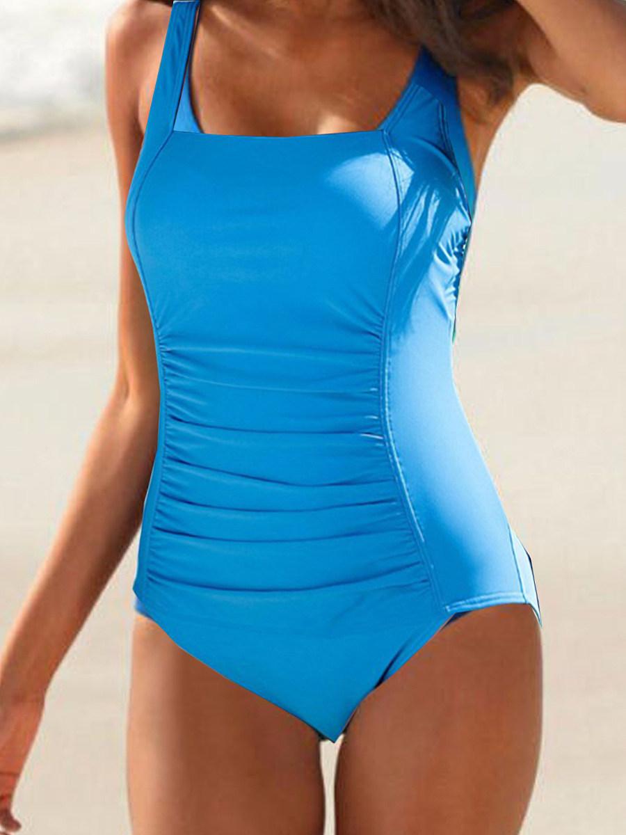 Boat Neck  Plain One Piece Swimwear
