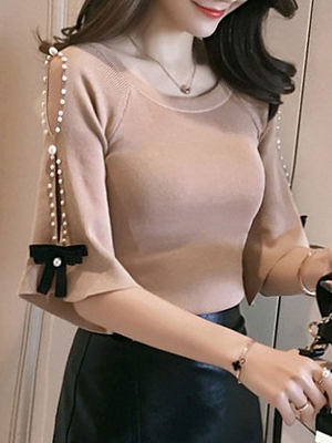Round Neck Beading Bowknot Plain Half Sleeve Sweaters Pullover, 4302703