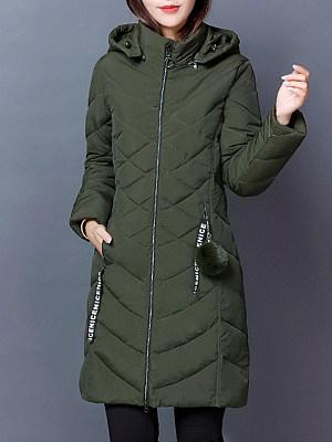 Longline Hooded Zips Pocket Plain Padded Coat