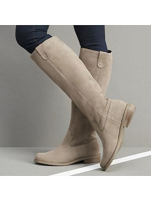 Plain  Flat  Velvet  Round Toe  Casual  Knee High Flat Boots