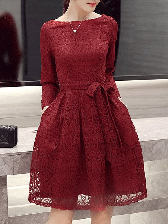 Boat Neck Plain Lace Bowknot Pocket Skater Dress