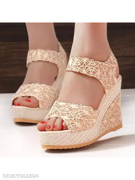 fbbfdbbf1b75 Lace High Heeled Lace Ankle Strap Peep Toe Casual Date Wedges -  berrylook.com