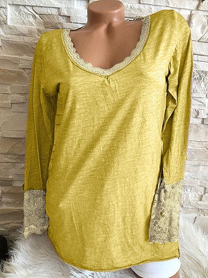 Round Neck Loose Fitting Patchwork Lace Plain Long Sleeve T-Shirts