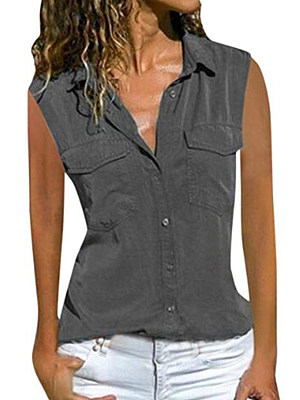 Turn Down Collar Patch Pocket Single Breasted Plain Blouses, 7350264