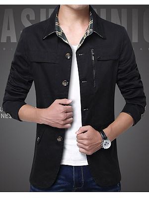 Turn Down Collar  Single Breasted Pocket Men Coat